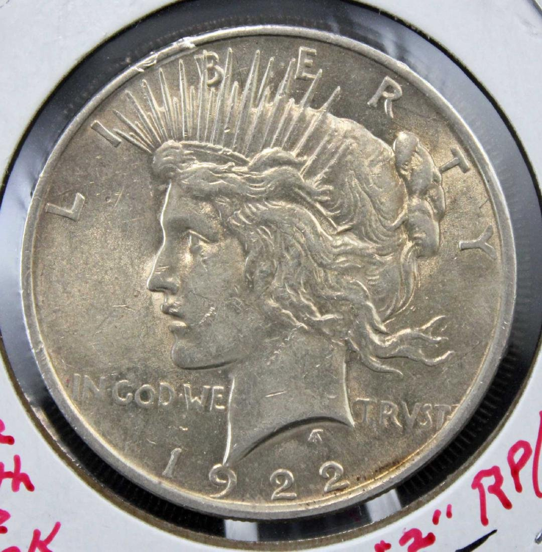 1892 P Morgan and 1922 P Peace Silver Dollars - 4