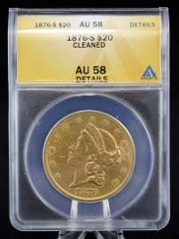 1876 S $20 Gold Coin ANACS AU 58 Details