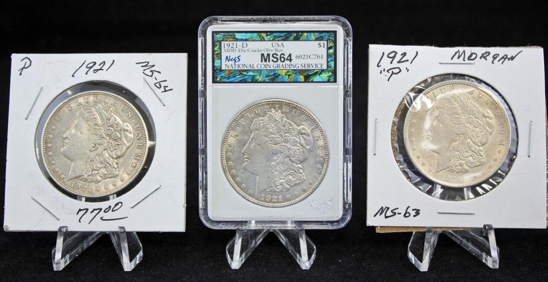 3 -1921 Morgan Dollars 2-1921 P & D MS64 w/ Errors