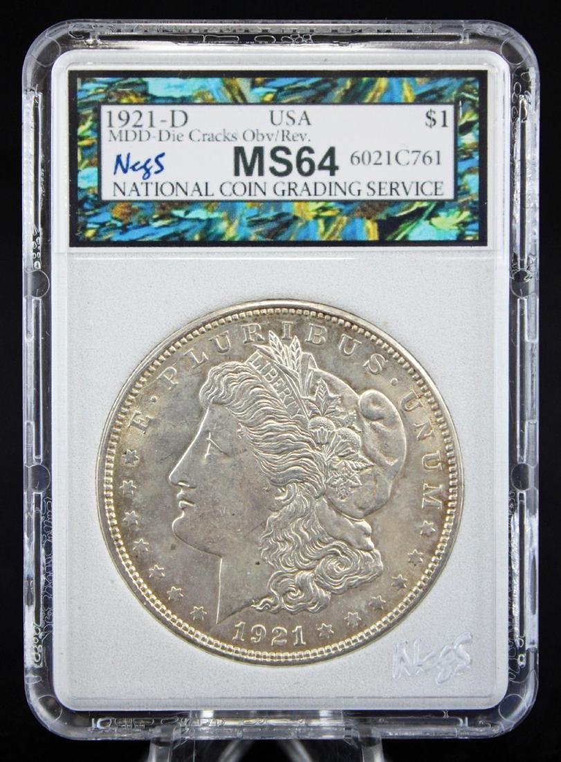 3 -1921 Morgan Dollars 2-1921 P & D MS64 w/ Errors - 2
