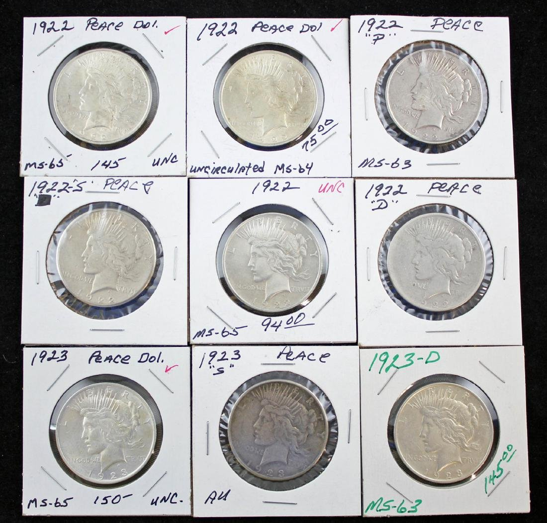 Nine 1922 and 1923 Peace Silver Dollars