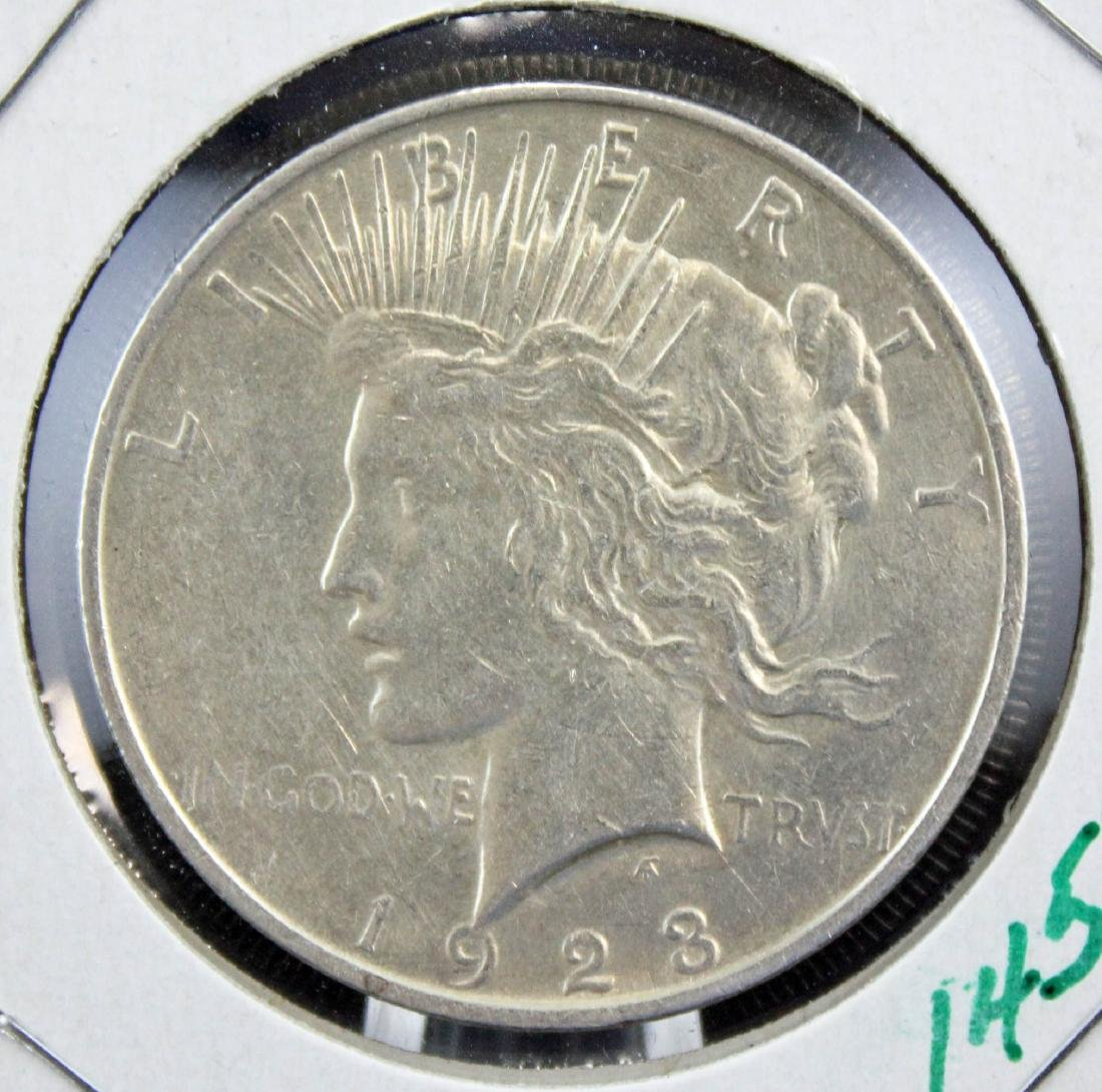 Nine 1922 and 1923 Peace Silver Dollars - 3