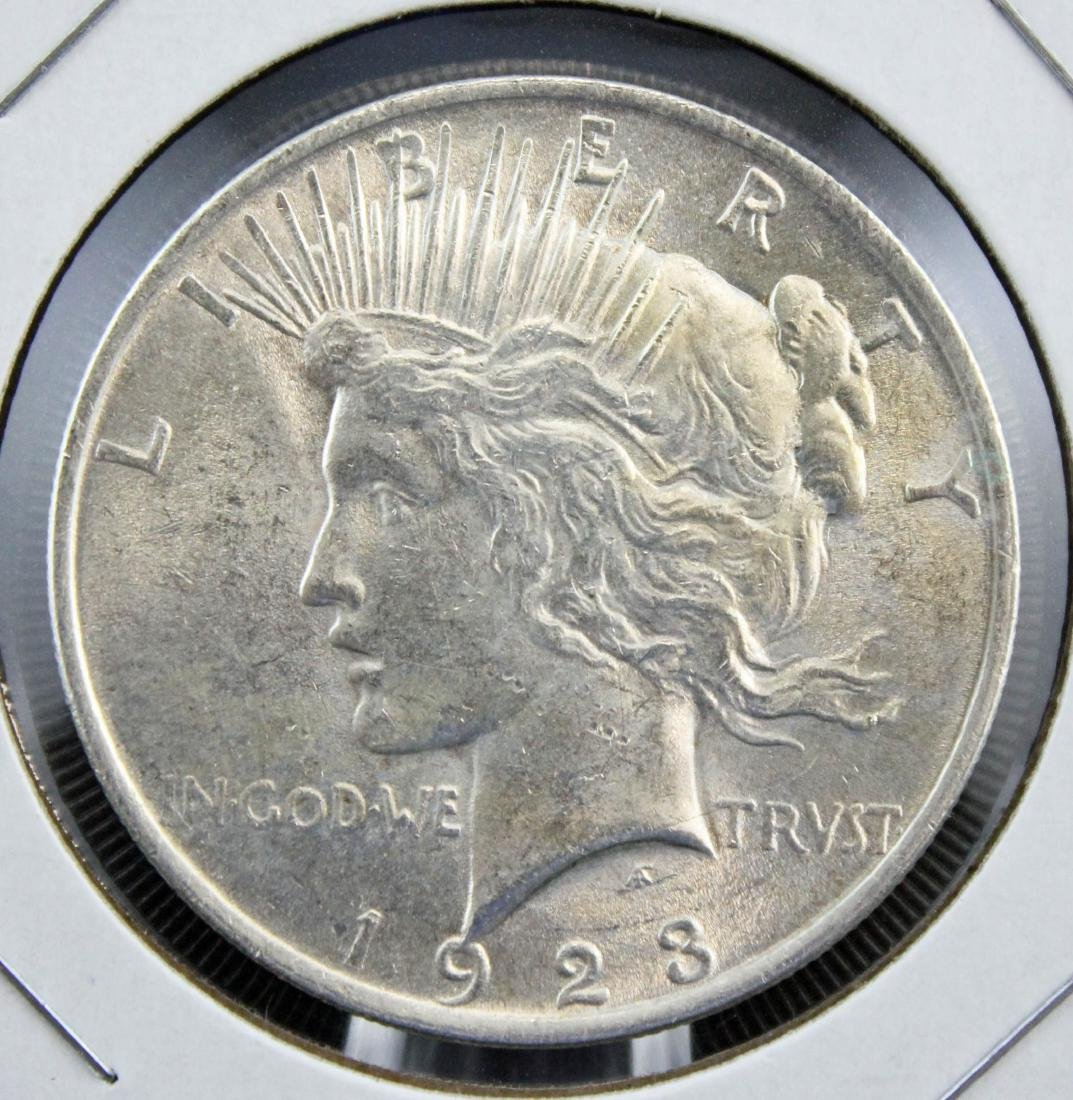 Nine 1922 and 1923 Peace Silver Dollars - 4