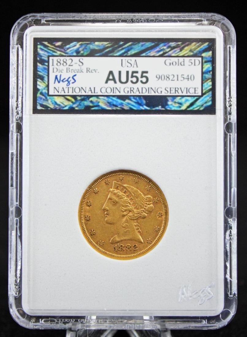 1882 S $5 Gold Liberty Head Coin NCGS AU 55 Errors