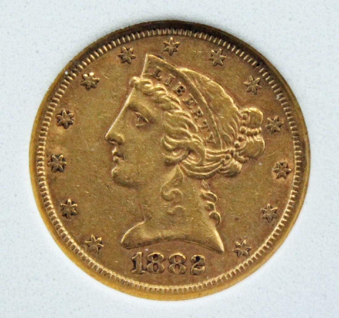 1882 S $5 Gold Liberty Head Coin NCGS AU 55 Errors - 2