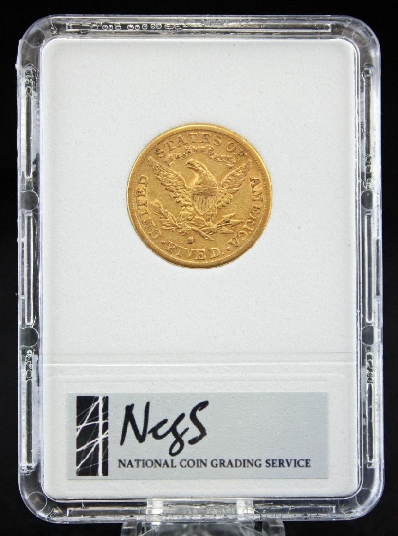 1882 S $5 Gold Liberty Head Coin NCGS AU 55 Errors - 3