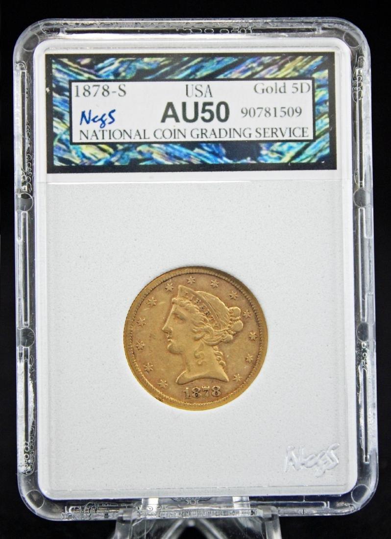 1878 S $5 Gold Liberty Head Coin NCGS AU 50