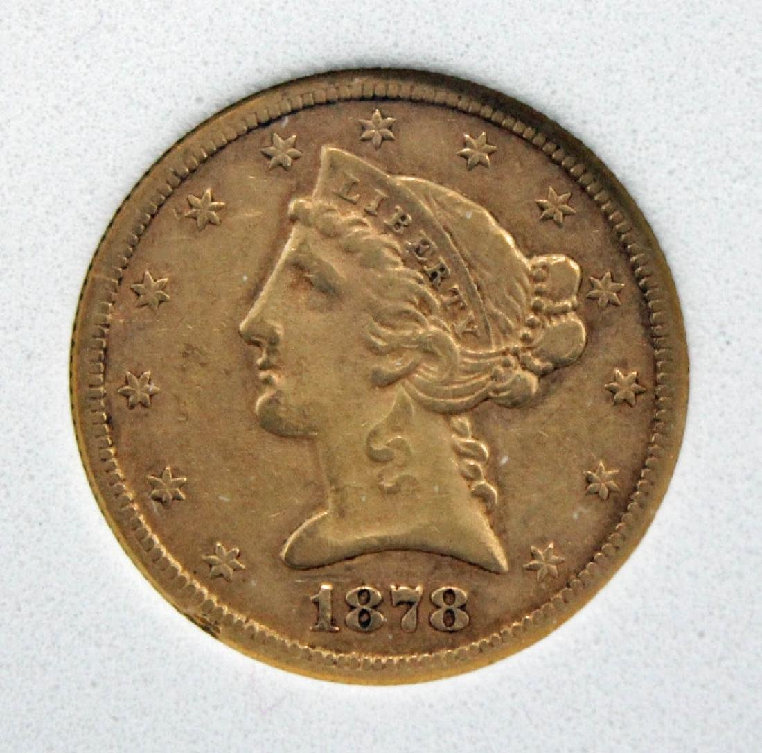 1878 S $5 Gold Liberty Head Coin NCGS AU 50 - 2