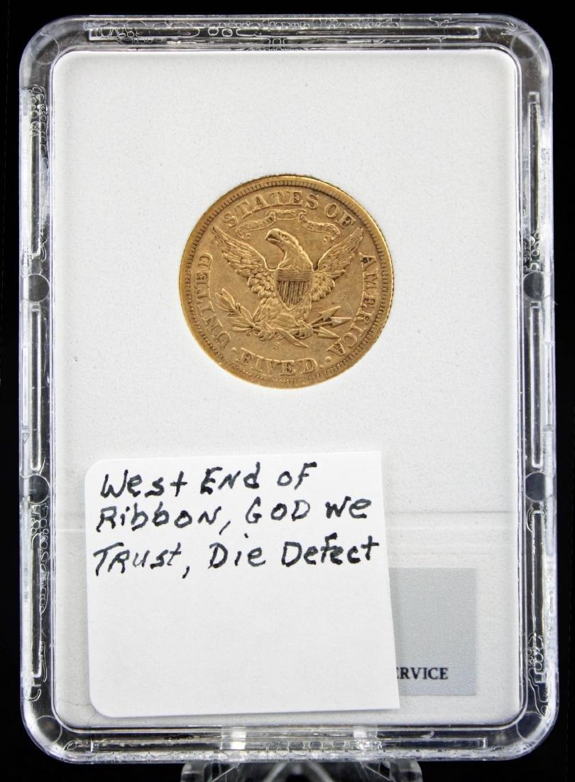 1878 S $5 Gold Liberty Head Coin NCGS AU 50 - 3