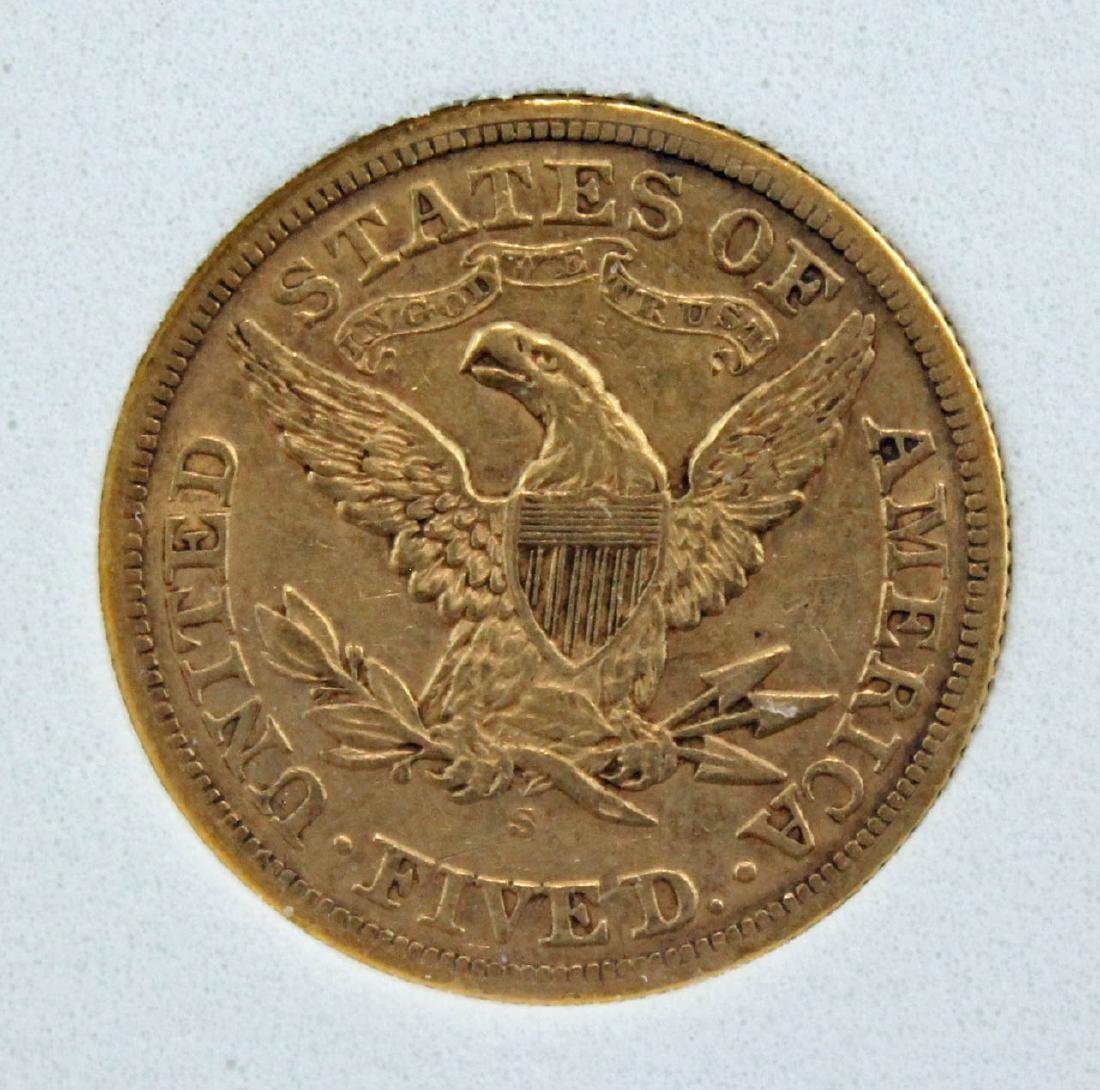 1878 S $5 Gold Liberty Head Coin NCGS AU 50 - 4