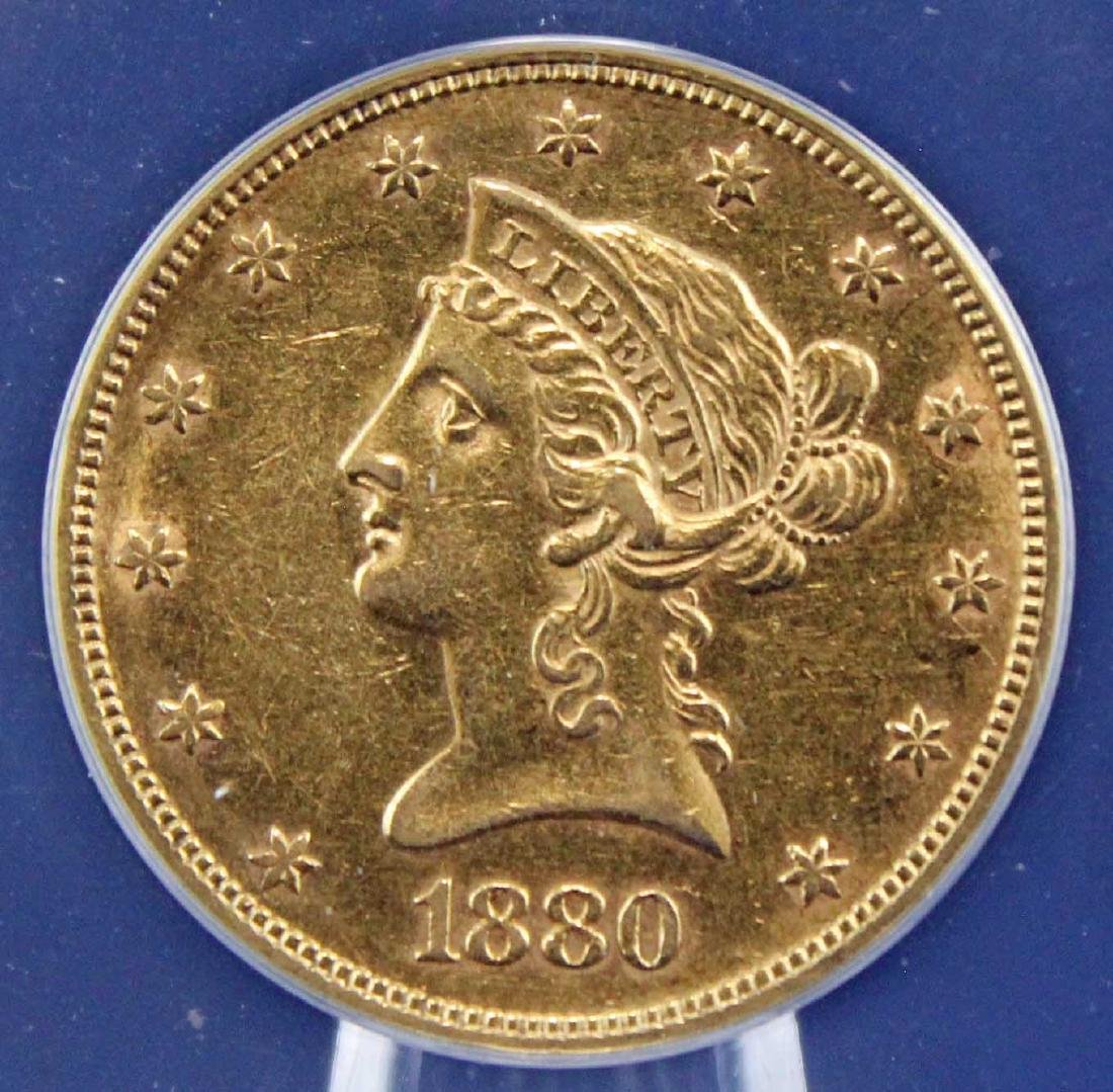 1880 $10 Liberty Head Gold Coin ANACS Graded AU 55 - 2