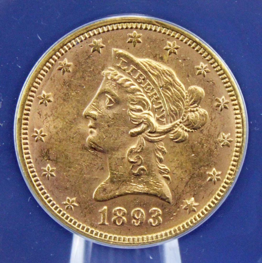 1893 $10 Liberty Head Gold Coin ANACS Graded MS 61 - 2