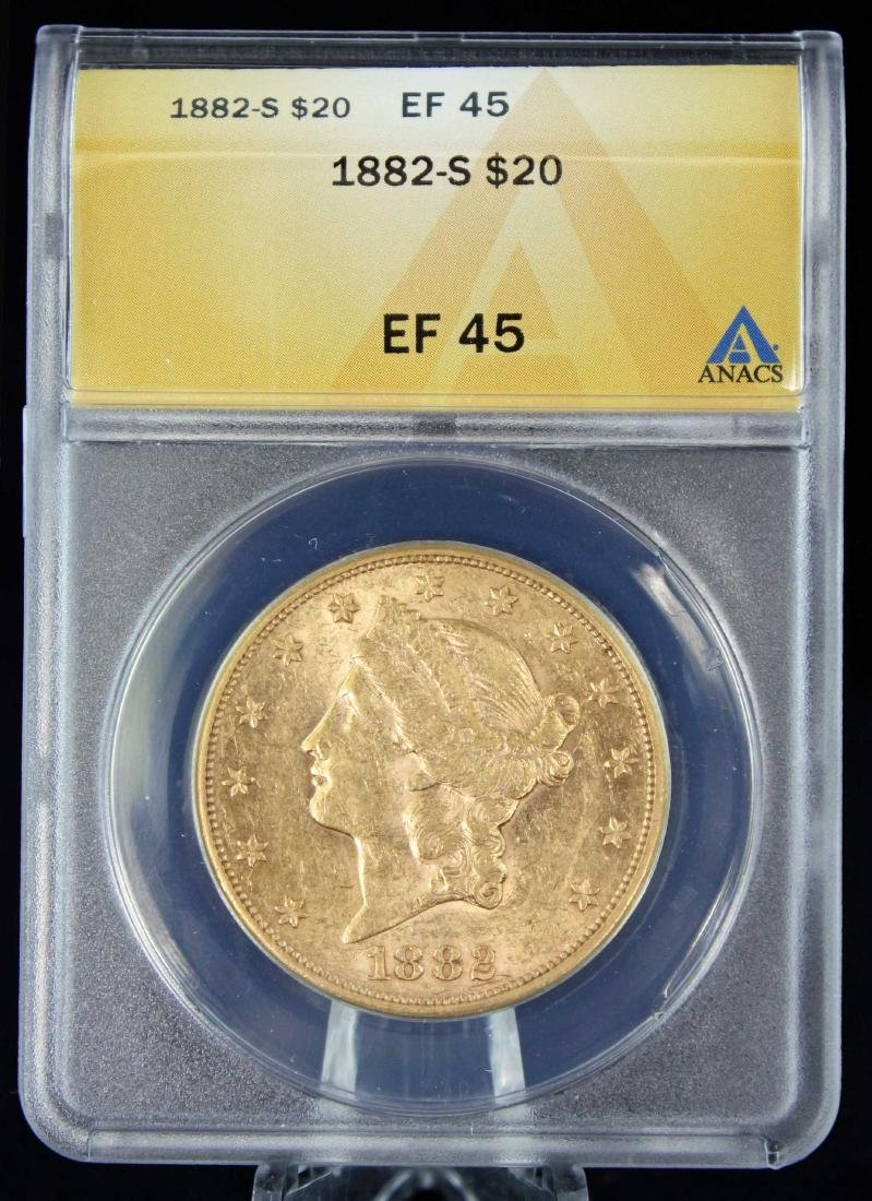 1882 S $20 Liberty Head Gold Coin ANACS AU 45