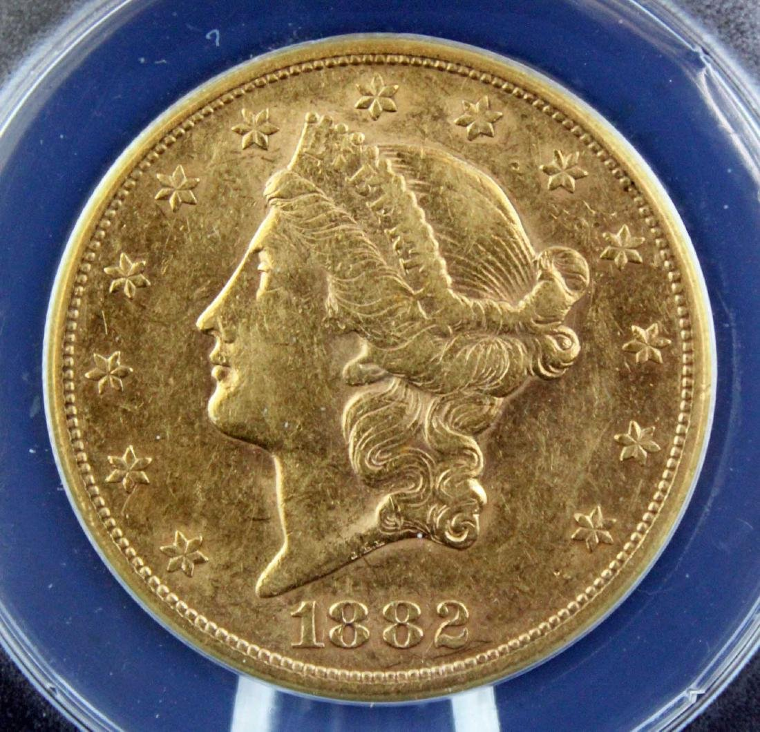 1882 S $20 Liberty Head Gold Coin ANACS AU 45 - 2