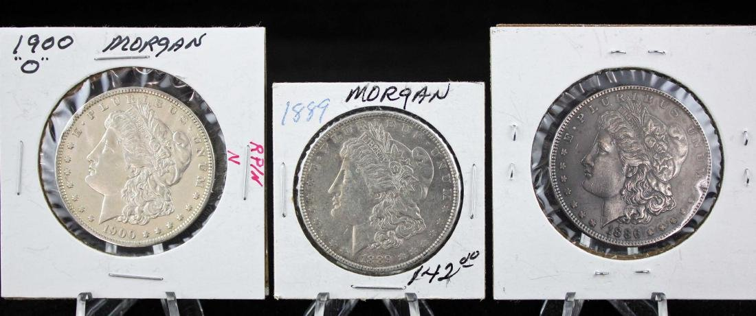 Three Morgan Silver Dollars 1886 - 1900 Errors Etc