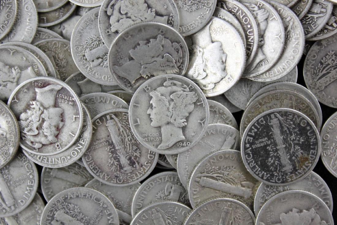 200 Mercury 90% Silver Dimes $20 Face Value - 2