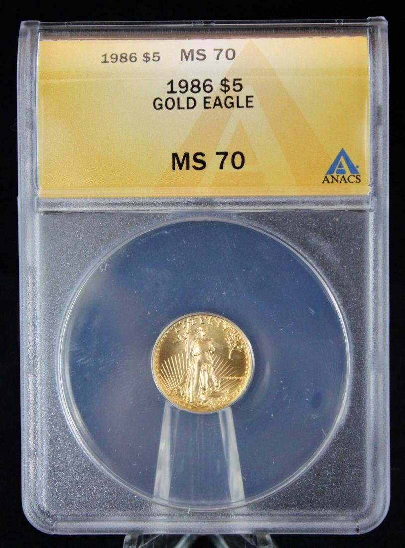 1986 $5 1/10 Troy Oz. Gold Eagle ANACS MS 70