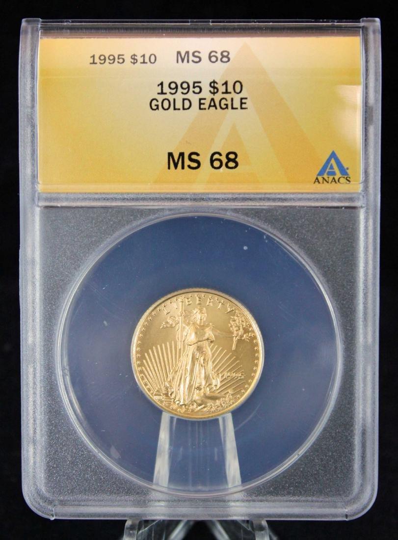 1995 $10 1/4 Troy Oz. Gold Eagle ANACS MS 68
