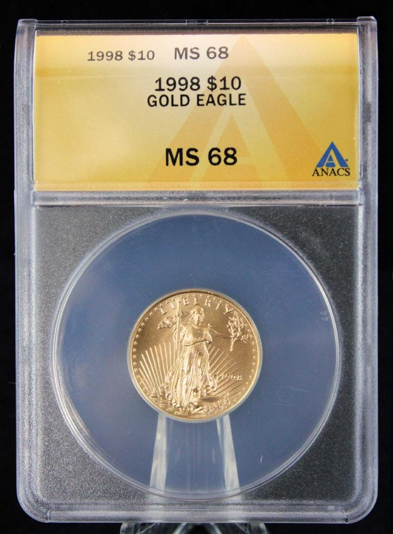 1998 $10 1/4 Troy Oz. Gold Eagle ANACS MS 68