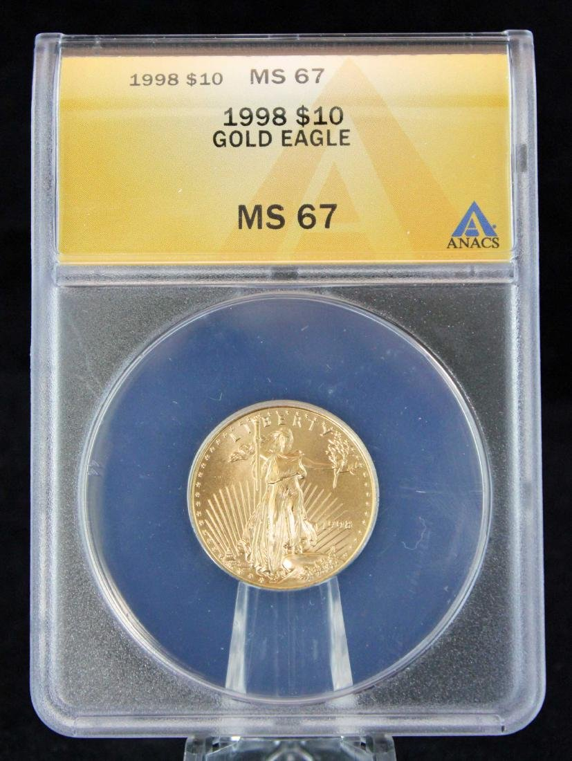 1998 $10 1/4 Troy Oz. Gold Eagle ANACS MS 67