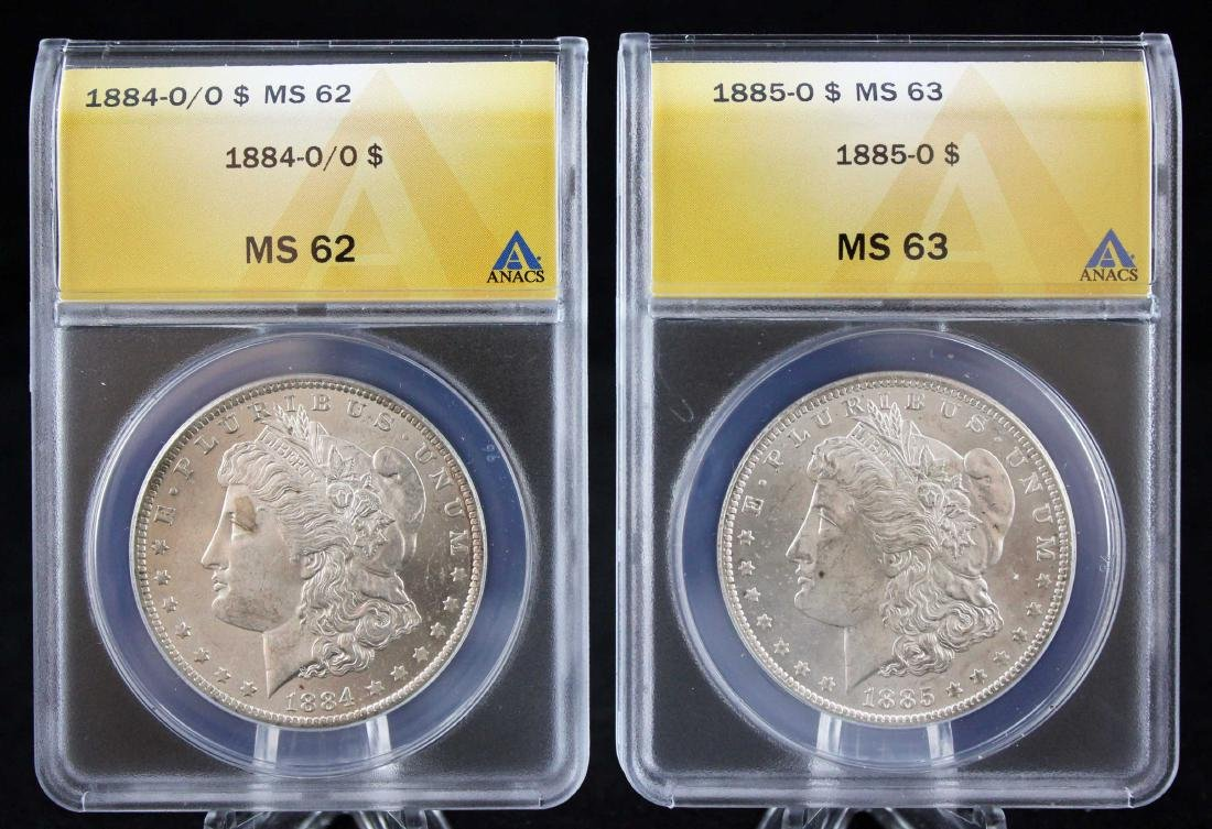"2 Morgan ""O"" Silver Dollars 1884 & 85, MS 62 & 63"