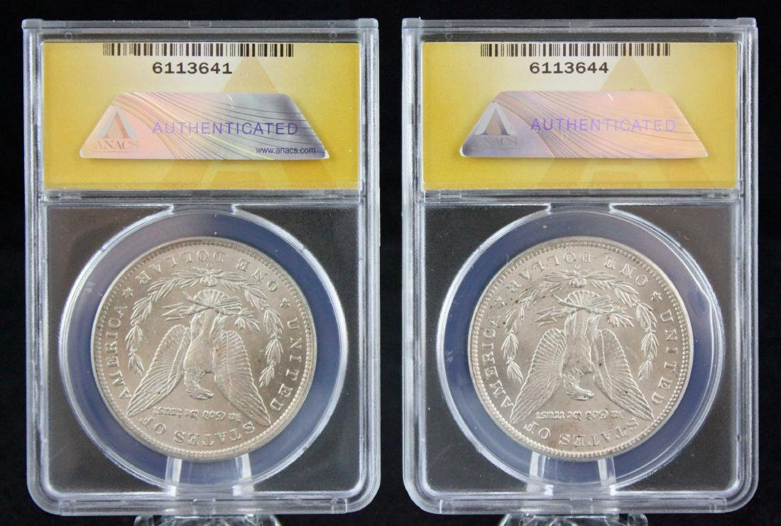 "2 Morgan ""O"" Silver Dollars 1884 & 85, MS 62 & 63 - 6"