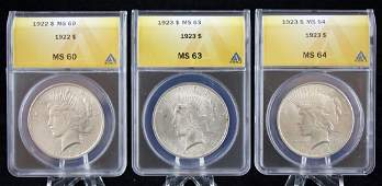 3 ANACS MS Graded 1922  23  Peace Silver Dollars