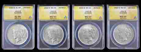 Four ANACS Graded 1923 P Peace Silver Dollars