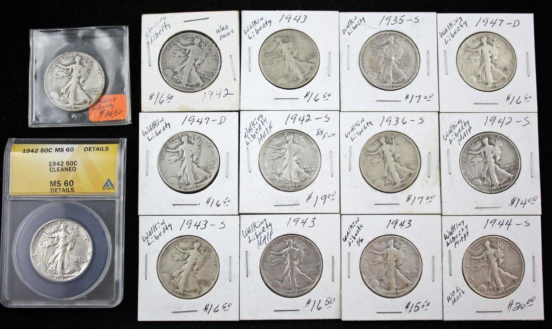 14 Walking Liberty Half Dollars Incl. 1942 - MS60