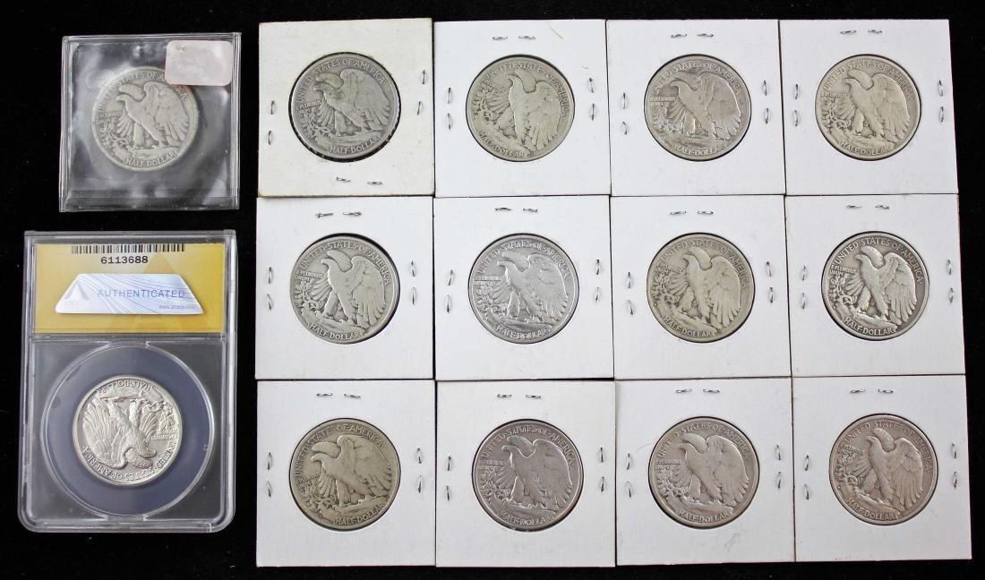 14 Walking Liberty Half Dollars Incl. 1942 - MS60 - 4