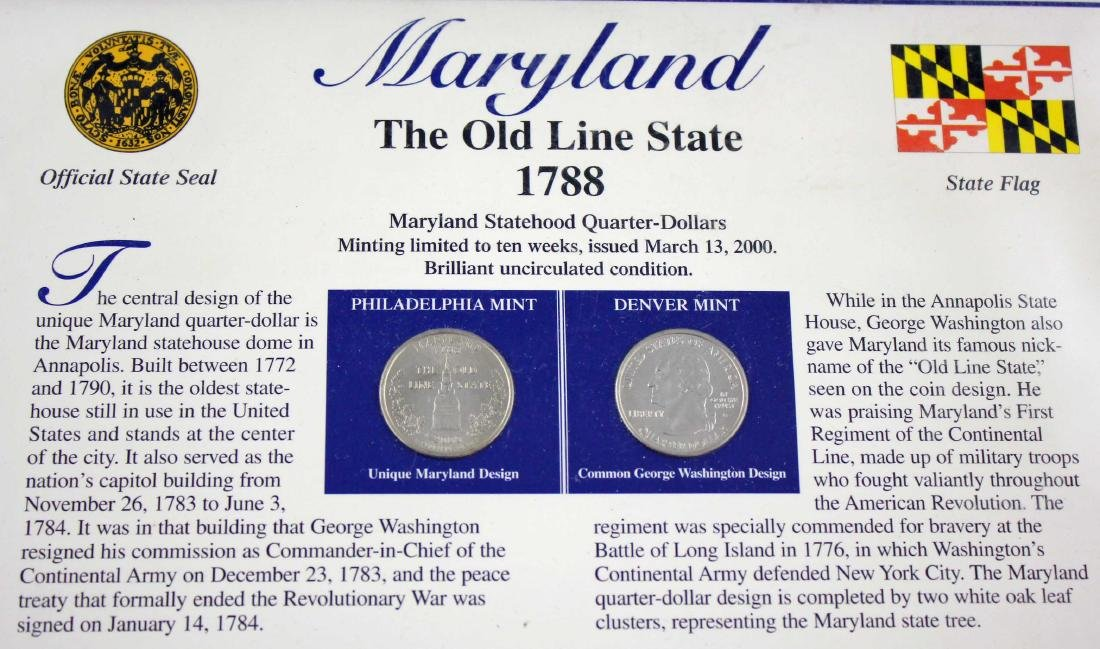 16 State Quarter History Displays w/ Stamps - 4