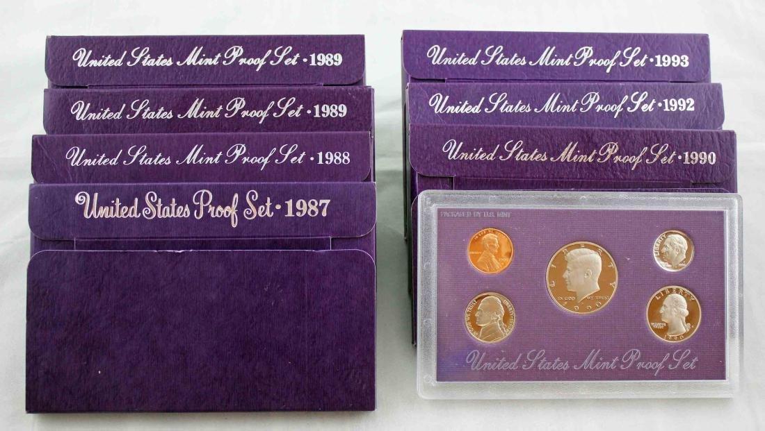 Seven San Francisco U.S. Mint Proof Sets 1987 - 93