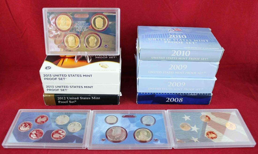 Seven U.S. Mint Proof Sets 2008 - 2013 Face $48.93