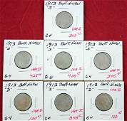 Buffalo Nickels 5 1913 S and 2 1913 D Var II
