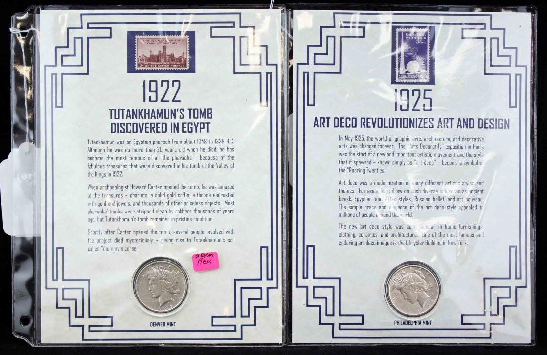 Two Peace Silver Dollars with History Displays