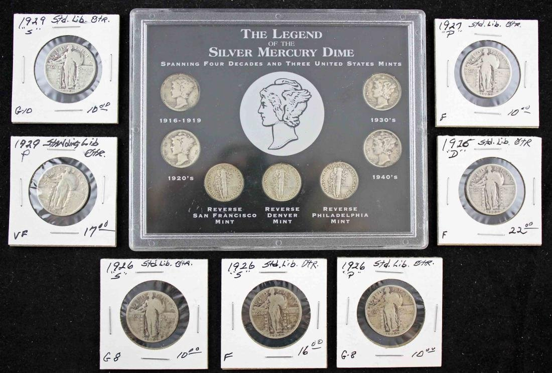 7 Standing Liberty Quarters and 7 Mercury Dimes
