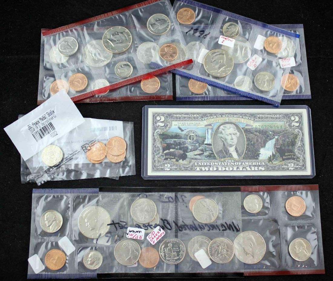 Unc. Coin Sets 1986 - 2009 & Two Dollar Notes