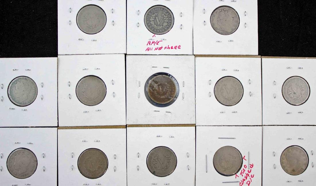 13 Liberty Head V Nickels w/ Possible Mint Errors - 3