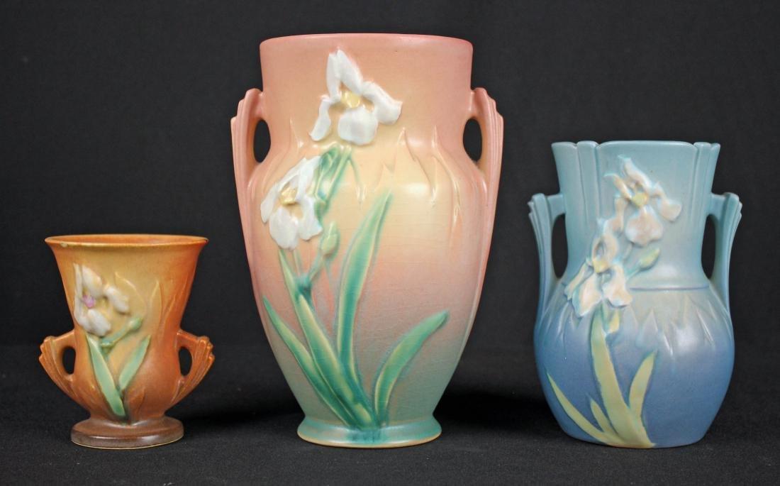 Three Roseville Pottery Iris Pattern Vases