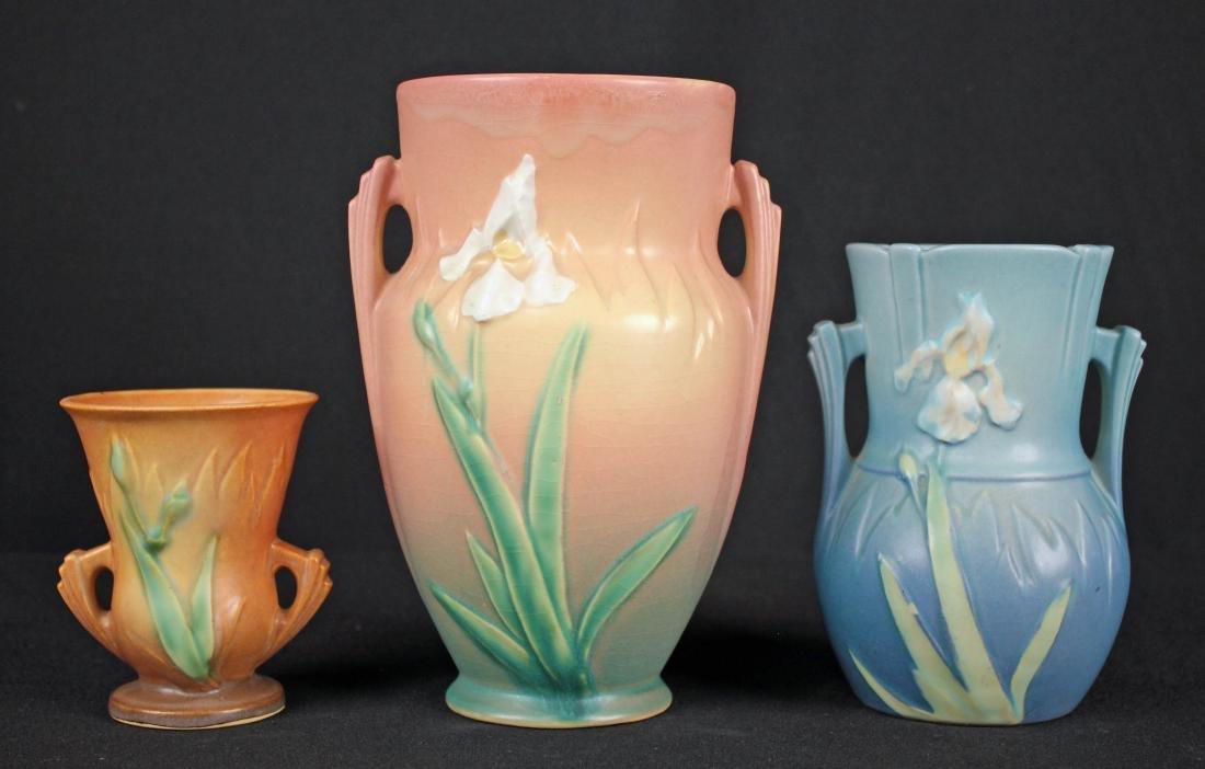 Three Roseville Pottery Iris Pattern Vases - 2