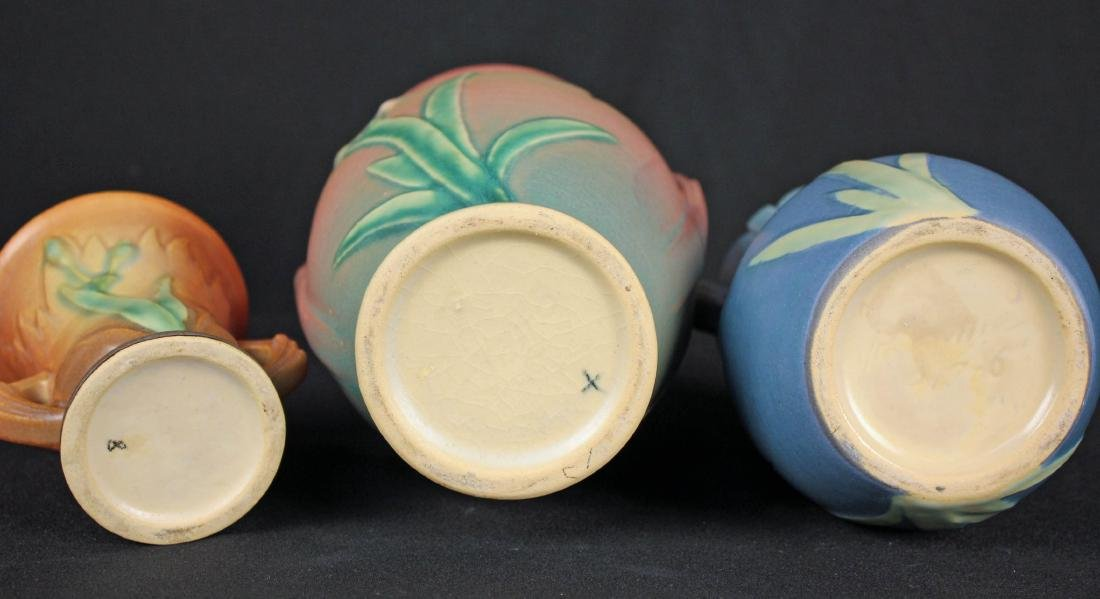 Three Roseville Pottery Iris Pattern Vases - 3