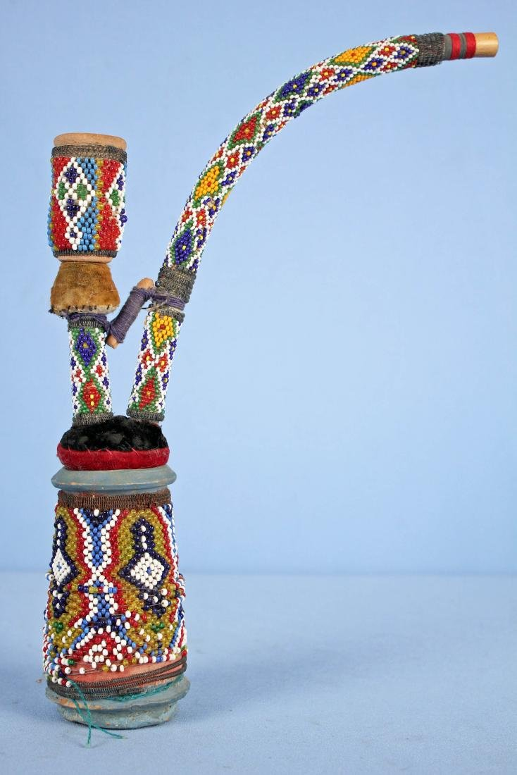 Very Unusual Beaded Pottery Pipe, Possibly Indian