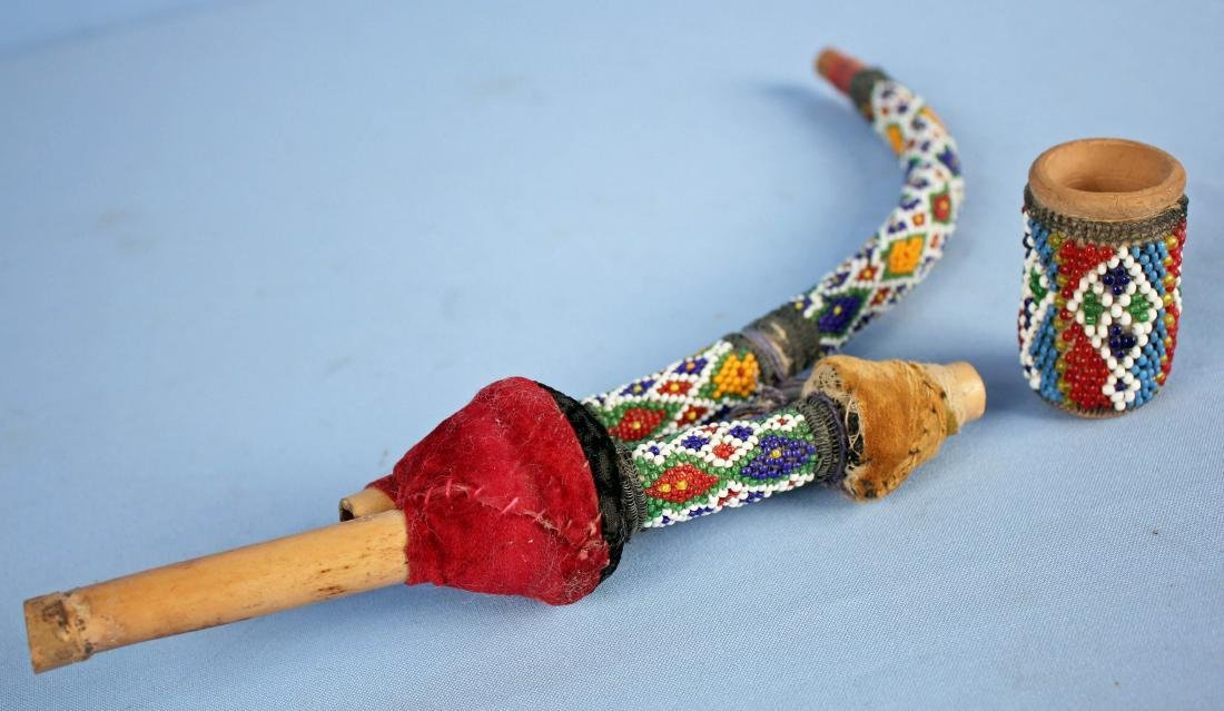 Very Unusual Beaded Pottery Pipe, Possibly Indian - 6