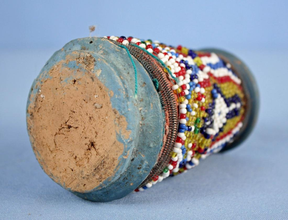 Very Unusual Beaded Pottery Pipe, Possibly Indian - 7