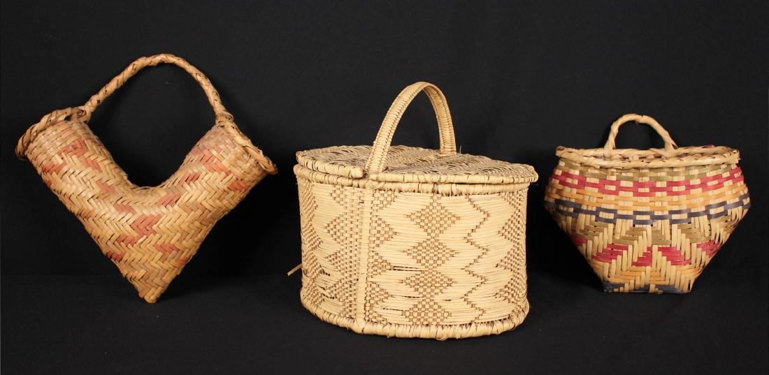 3 Indian Baskets Incl. 2 Choctaw Indian River Cane