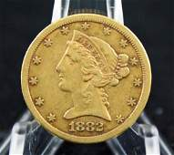 1882-CC Gold Liberty Head $5.00 Half Eagle