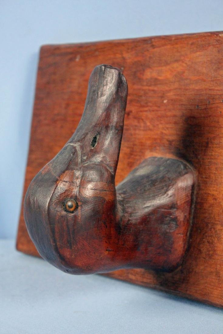 Two Carved Decoys and Decoy Head Rack - 5