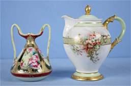 2 pieces Hand Painted Porcelain Coffee Pot & Vase