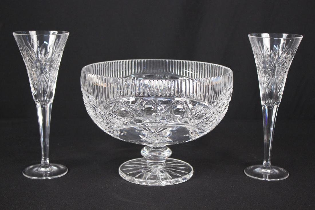 Shannon Crystal Center Bowl and Champagne Flutes
