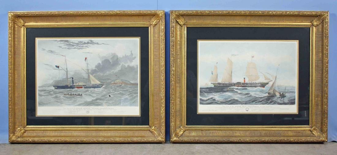 Pair of 19th Century Style Steam Ship Prints